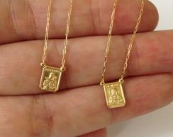 670671c926450 ... Escapulario em ouro18k 60 cm unissex dupla face