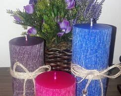 Trio de velas decorativas