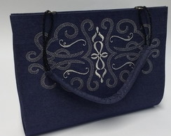 Maxi Clutch jeans de cartonagem