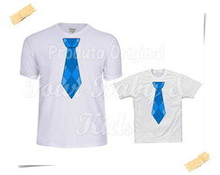 Camiseta Divertida Kit Gravata Azul - G40