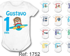 Body Mesversario Kit c/ 12 ursinho aviador urso aviador