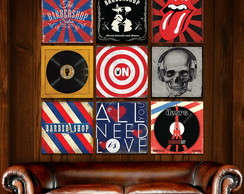 Placas Decorativas Em Mdf 30x30 Barbearia Rock Música Moto