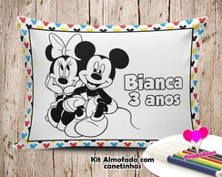 MINI ALMOFADA COLORIR 15X20 MICKEY E MINNIE