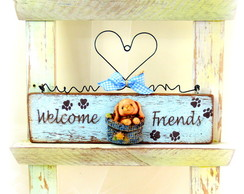 Placa Bem-vindos - Welcome friends Cachorrinho