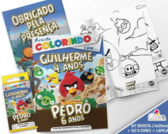Kit Revista + Giz + Lapela - Angry Birds