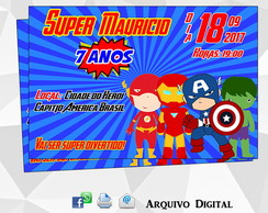 Convite Digital - Os Vingadores Cute Digital