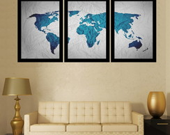 KIT QUADRO DECORATIVO MAPA-MUNDI -TAM: 141X67CM
