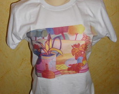 Camiseta branca Baby look Pink and Blue