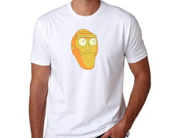 Camiseta Branca Rick And Morty Cabeça Gigante