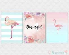 Kit Quadro Decorativo - Flamingos Beautiful Flores