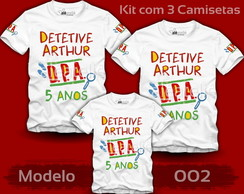 Kit 3 Camisetas DPA Detetives do Prédio Azul Personalizadas