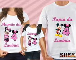 kit camiseta personalizada da Minnie c 3 rosa