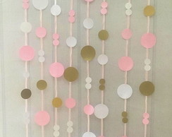 Cortina Painel FITAS e Circulos Scrap GOLD Candy