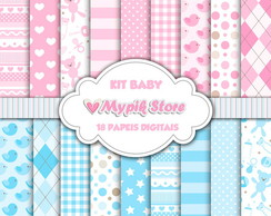 Kit Papel Digital Chá de Bebe Rosa e Azul Scrapbook 03