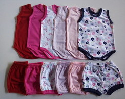 Kit Menina/6 Body regata + 6 Shorts/com 2 estampas