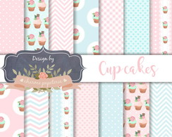 Papel Digital Cupcake | Papel digital Confeitaria Cupcakes