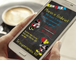 Convite Digital Chalkboard Mickey e Minnie