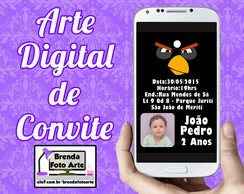 Arte Digital Convite Angry Birds
