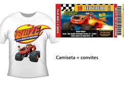 Kit camiseta +30 convites Blazer Monster Machine