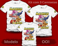 Kit 3 Camisetas Super Wings Jett Dizzy Donnie Personalizadas