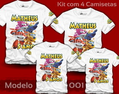 Kit 4 Camisetas Super Wings Jett Dizzy Donnie Personalizadas