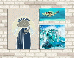 Conjunto 3 quadros - The Ocean