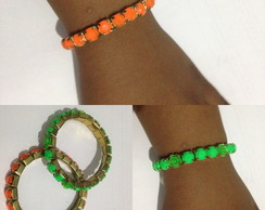 Pulseira Metalica Green-Orange