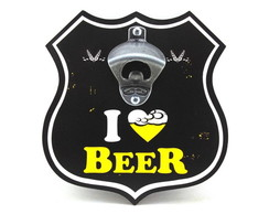 Placa Abridor Escudo I Love Beer - ae012