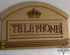 Porta Chaves Cabine Telephone Mdf Cru 5 Lugares Chaveiros