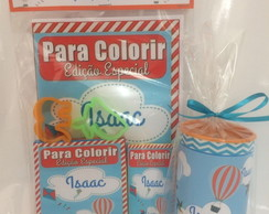 Kit colorir massinha e cofre Baloes pipas e cataventos
