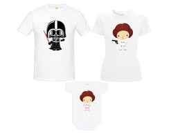 Kit Camiseta Star Wars Baby Darth Vader e Princesa Leia