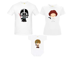 Kit Camiseta Star Wars Baby Darth Vader Princesa Leia Luke 1