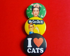 Kit (3) Bottons: Frida; We can do it; I