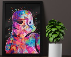 Quadro Poster Moldura Vidro A3 Star Wars Color Stormtrooper