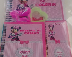 Kit colorir giz e massinha Minnie Rosa