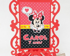 Porta Retrato Decorativo Scrap Minnie Vermelha
