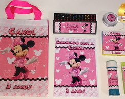 Super Kit na sacola ecobag Minnie Rosa