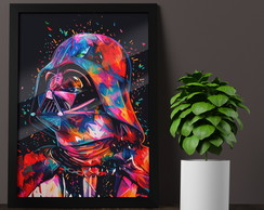 Quadro Poster Moldura Vidro A3 Star Wars Color Darth Vader