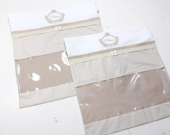 Kit 2 Envelopes Organizadores Maternidade - Bege - Bordado