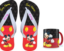 kit Caneca Col + Chinelo - Mickey Mouse