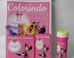 Kit Colorir + Kit Massinha 2 moldes + Bolhas de Sabão Minnie