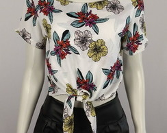 Blusa crooped floral verao