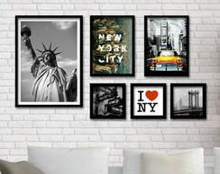 Kit 06 Quadros com moldura - NEW YORK