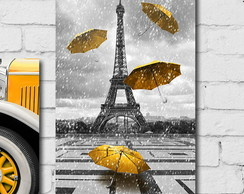 Placa Decorativa Paris Torre Eiffel Amarelo 30x40