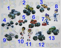 Aplique Topper Recorte Blaze and the Monster Machines 3,5cm
