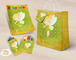 Kit colorir giz massinha e sacola Tinkerbell cute