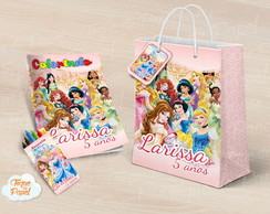 Kit colorir giz sacola Princesas Disney