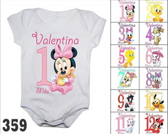 Body Mesversario Disney Baby Kit 12 Bodies Com Nome do Bebê