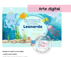 "Convite Fundo do Mar "" ARTE DIGITAL"""