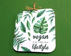 Placa Decorativa - VEGAN LIFESTYLE - MDF 18x18cm